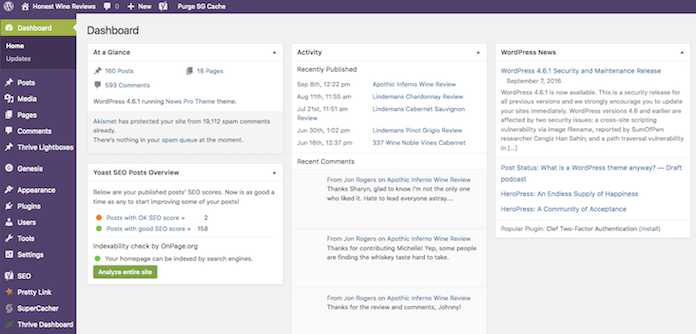 WordPress Dashboard Example
