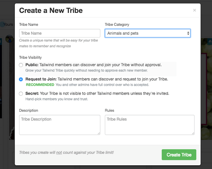 Create a New Tailwind Tribe Screen
