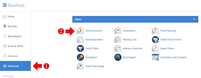 Bluehost Webmail Advanced Tab