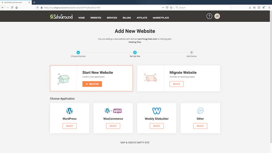 SiteGround - Add New Site