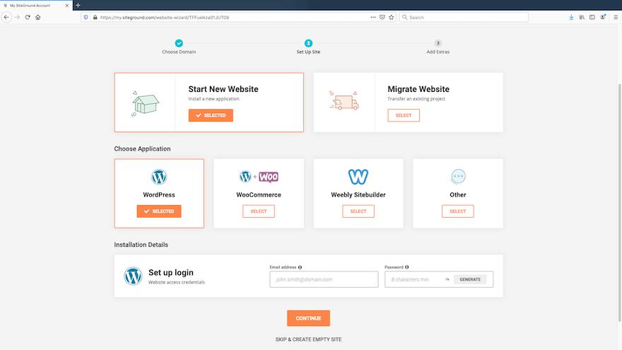 SiteGround - Set Up Site - Choose WordPress