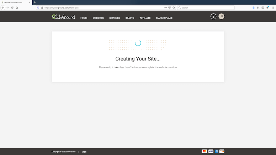 SiteGround - Set Up Site - Creating Site